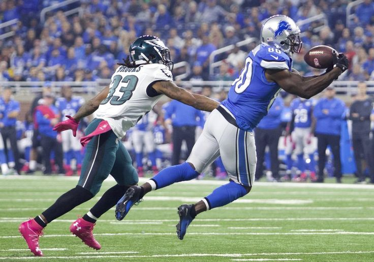 Eagles vs. Lions:  24-23, Lions, October 9, 2016  -         Detroit Lions wide receiver Anquan Boldin (80) catches a pass against Philadelphia Eagles cornerback Ron Brooks (33) during the first quarter at Ford Field.(Raj Mehta|USA TODAY Sports)