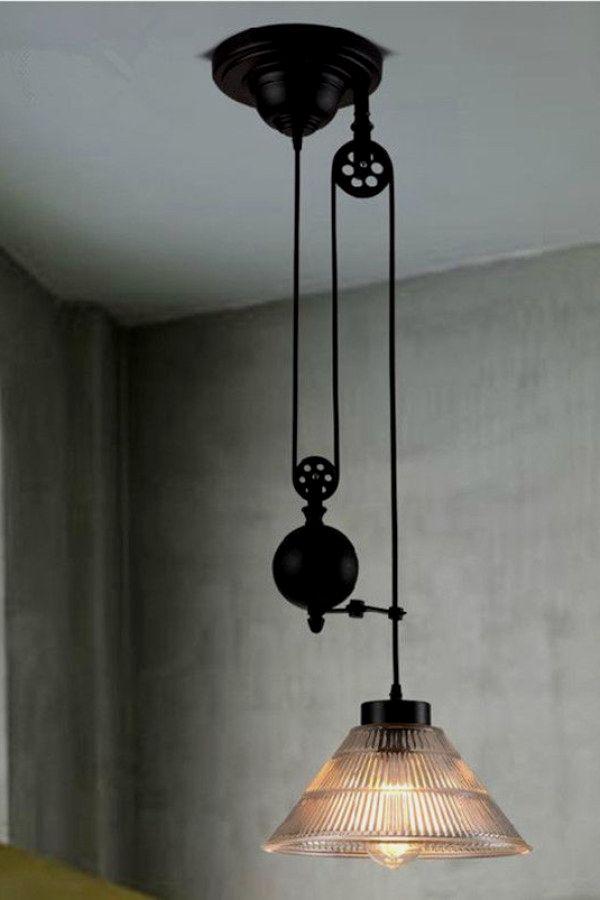 12 Beautiful Industrial Lighting Ideas To Complete Your Urban Home Industrial Lig Industrial Light Fixtures Rustic Industrial Lighting Pulley Light Fixture
