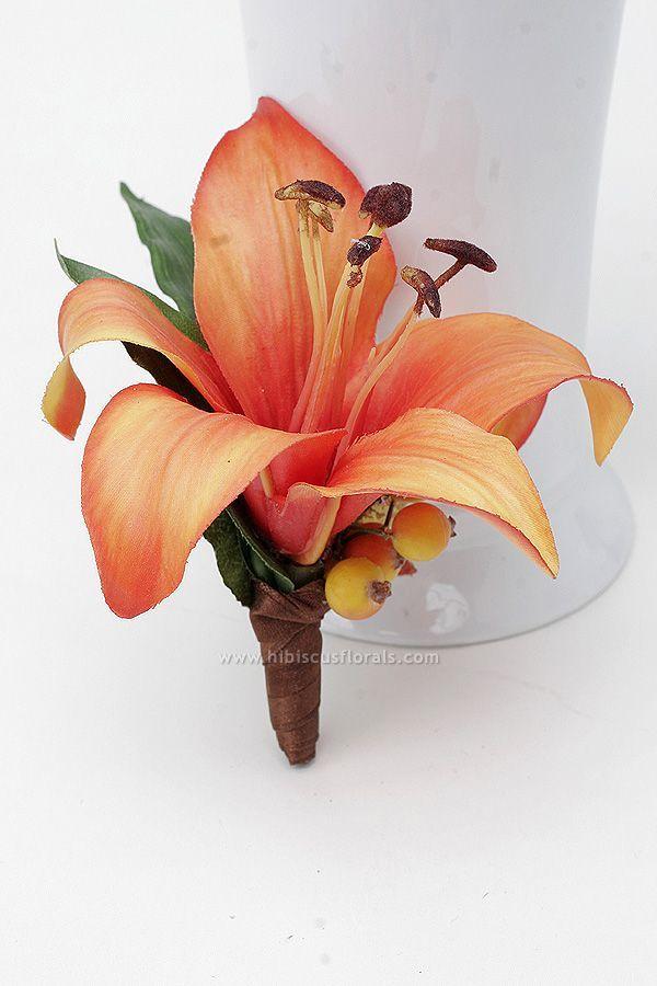 Orange Tiger Lillies bridesmaid Ideas | Orange Real Touch Tiger Lily Boutonniere | Wedding ideas