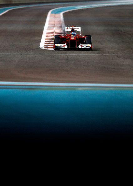 Fernando Alonso of Spain and Ferrari drives during the Abu Dhabi Formula One Grand Prix