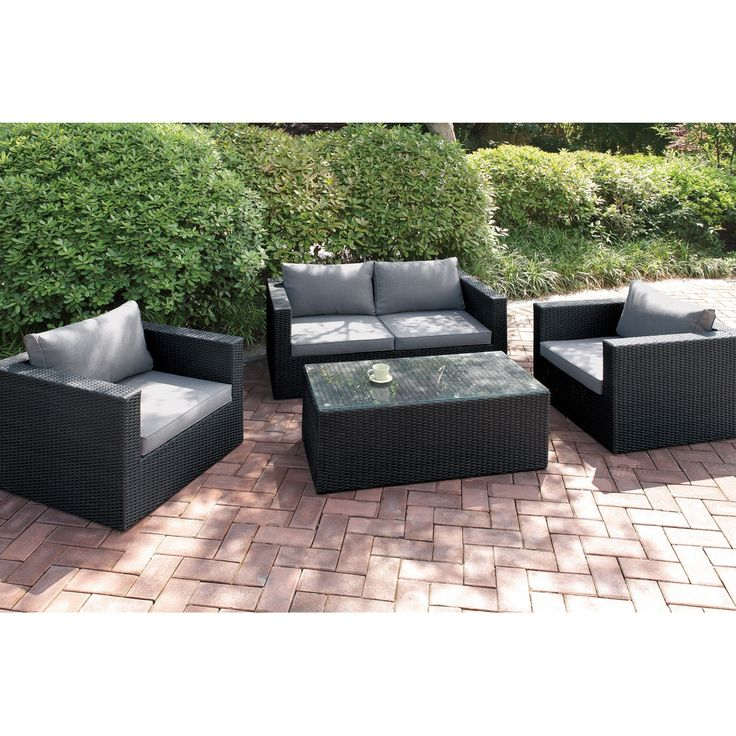 Poundex Tulchyn 4-piece Patio Sofa Set (Brown), Size 4-Piece Sets, Patio Furniture (Aluminum)