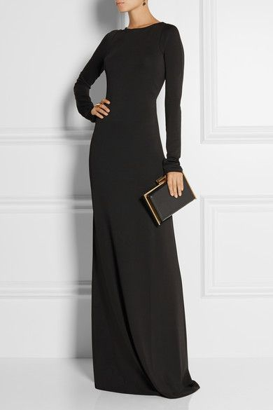 Love the clutch paired with this modernly sultry dress. I'd add some angular studs and a metal bib statement necklace to wear to a gala at a museum.