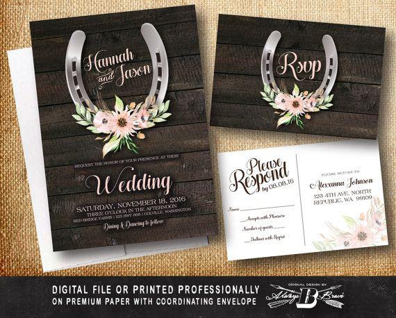 Rustic Wedding Invitation SET Western Horseshoes