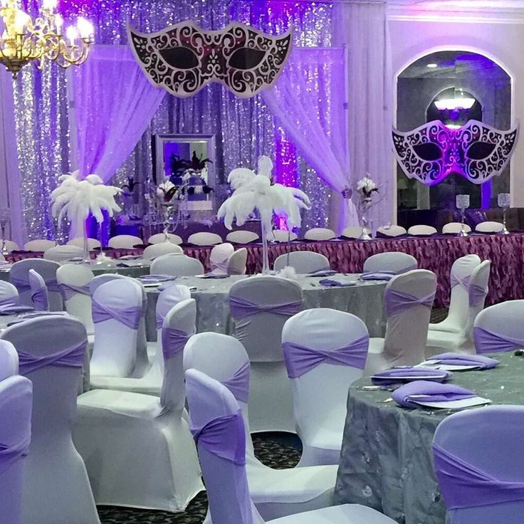 Purple masquerade Quinceañera party! See more party planning ideas at CatchMyParty.com!