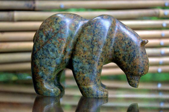 Soapstone carving Bear cub figurine small sculpture handmade home decor stone animal