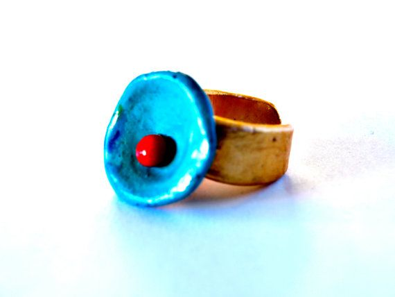 December 7  Handmade Polymer Clay Ring in Blue and Red by bibigo, €15.00