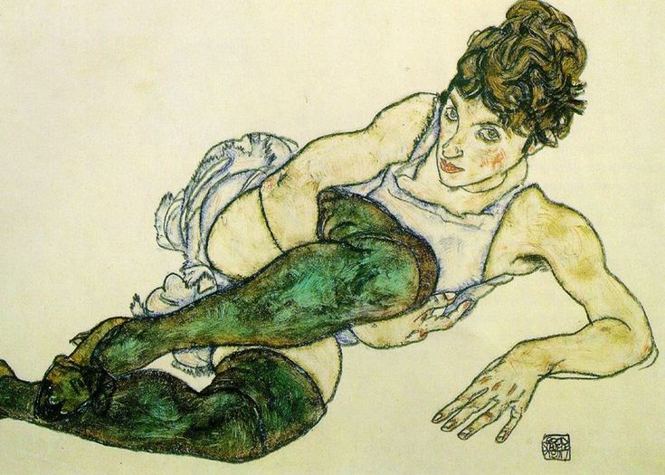 Egon Schiele - Green Stockings   Egon Schiele was an Austrian painter. A protégé of Gustav Klimt, Schiele was a major figurative painter of the early 20th century. His work is noted for its intensity. The twisted body shapes and the expressive line that characterize Schiele's paintings and drawings mark the artist as an early exponent of Expressionism, although still strongly associated with the art nouveau movement.