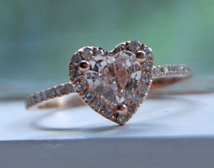 Heart peach champagne rose gold diamond ring. $950.00, via Etsy.    Uhm, yes plz