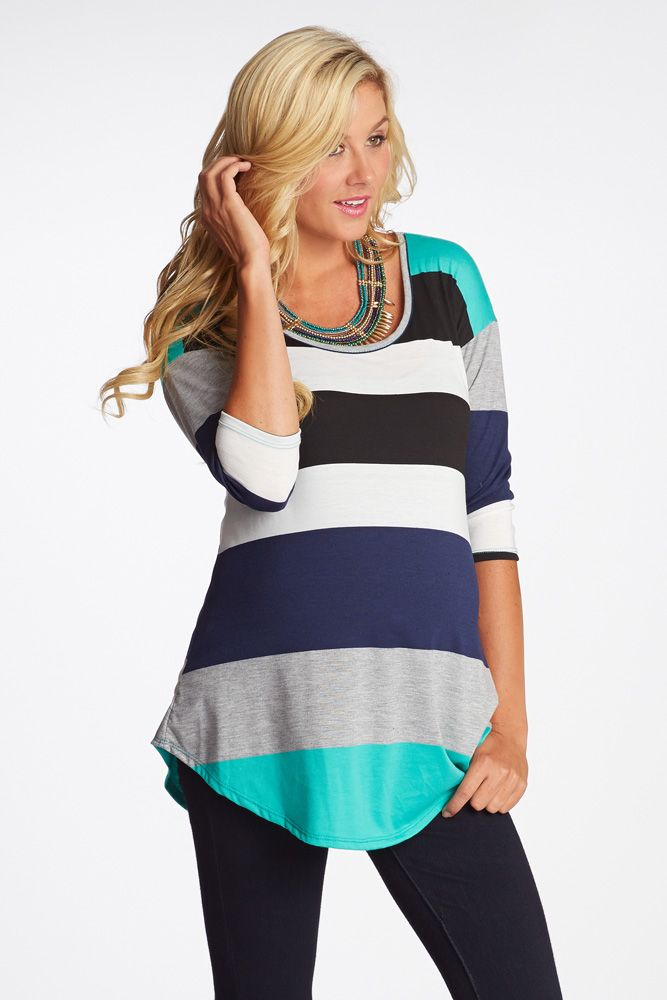We are loving the combination of bright and dark colors featured on this ¾ sleeve striped colorblock maternity top