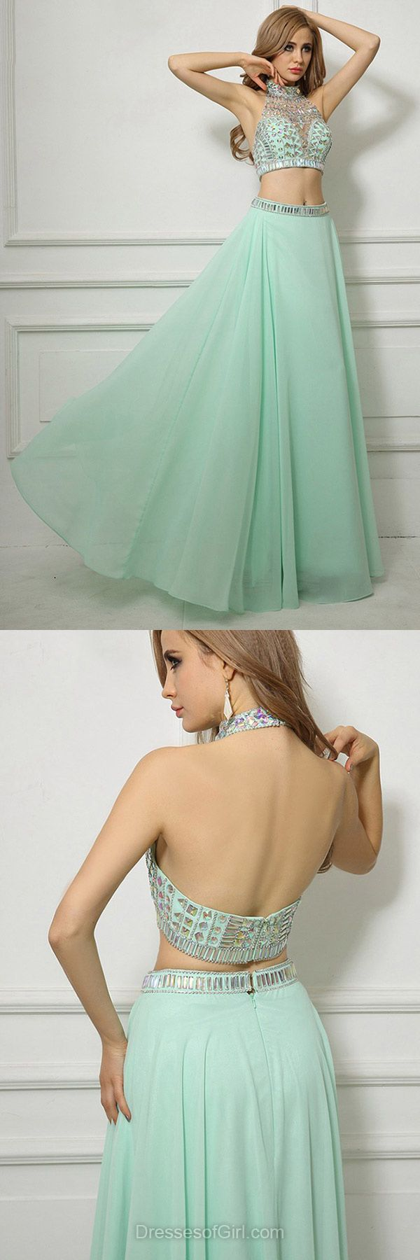 Green Prom Dress, Long Prom Dresses, Two Piece Evening Gowns, High Neck Party Dresses, A-line Formal Dresses