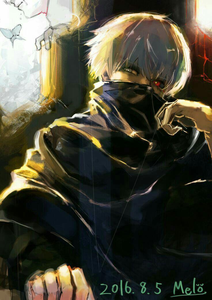 Kaneki Ken, ghoul, white hair, mask, text; Tokyo Ghoul