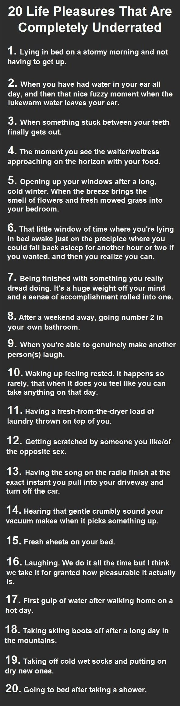 20 Life Pleasures That Are Completely Underrated