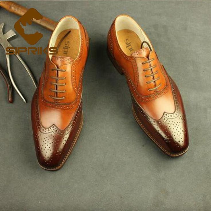 Sipriks Light Brown Wingtip Dress Shoes Men Italian Imported Leather Brogue Shoes