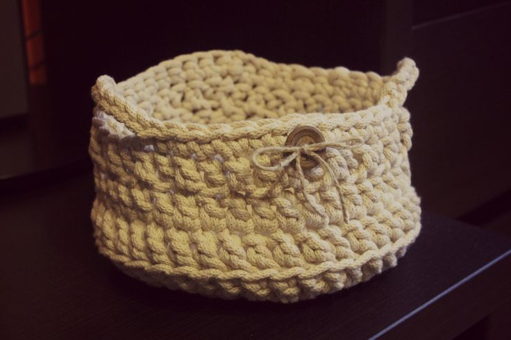 Crochet basket. I used a cotton tape.