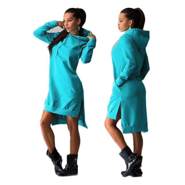 Feida 2016 Winter Herfst Vrouwen lange hooded sweater Jurk Casual Dubbele Split Hoodie Trui Zakken Vestidos Femininas