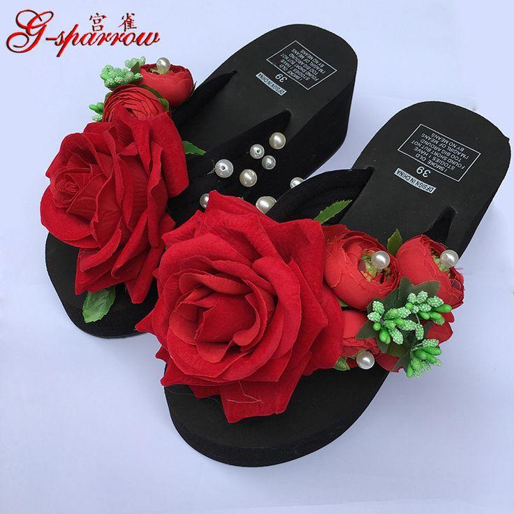 Summer Style Red Rose Flower Sandals Women's Shoes Cheap High Heeled Wedges Buy Platform Flip Flops Slippers Sale Online