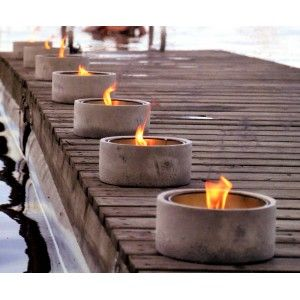 concrete containers for large outside fires -- do not know about the instructions, but REALLY pretty