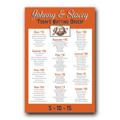Baseball – Giants Seating Chart – features the San Francisco Giants colors. This seating chart is set for arrangement by table, but is available in alphabetical order. The size for this seating chart is 20″x 30″. It is also available in any baseball teams colors. #SeatingChart