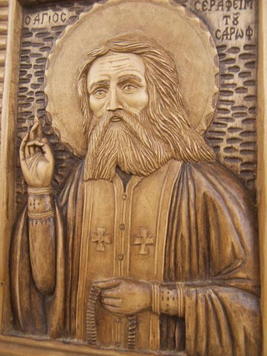 Αγιος Σεραφείμ του Σαρωφ.  Ξύλο Φλαμουριάς.