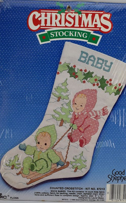 Snow Babies Christmas Stocking Counted Cross Stitch Kit