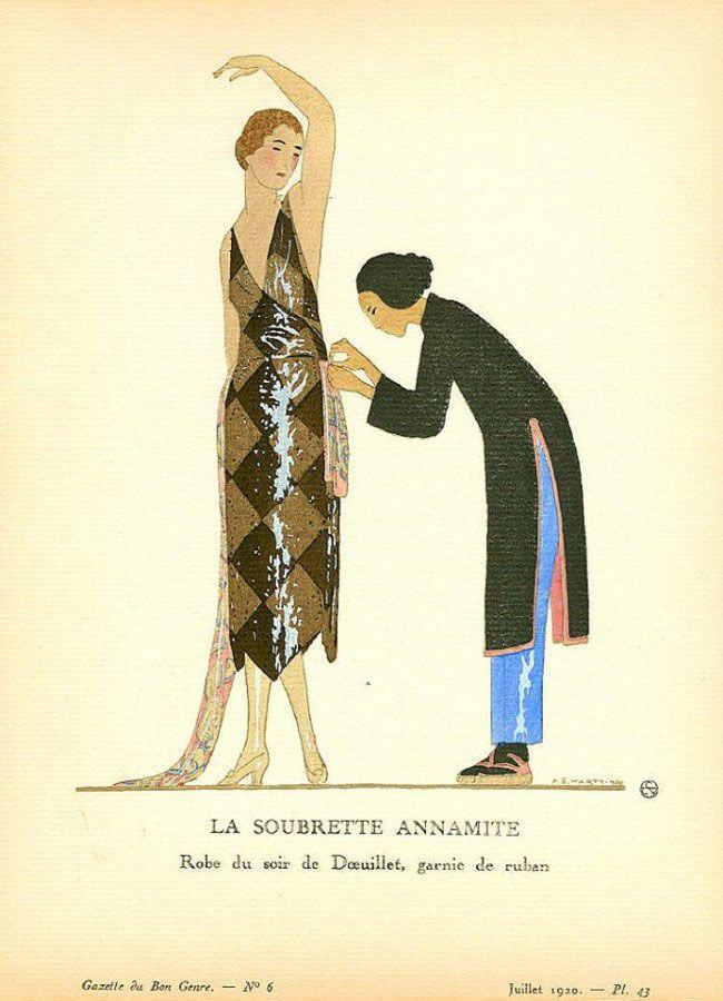Andre Edouard Marty - La soubrette Annamite . Robe du soir de Doeuillet garnie de ruban - 1920