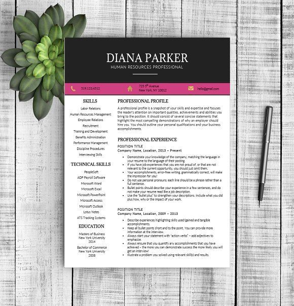 PROFESSIONAL RESUME TEMPLATE FOR WORD - INSTANT DOWNLOAD - MAC & PC COMPATIBLE