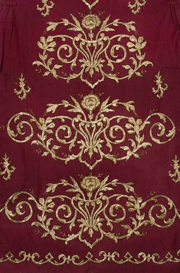 Detail of a late-Ottoman embroidered 'bindalli entari' (bridal/festive women's robe).  Ca. 1900.