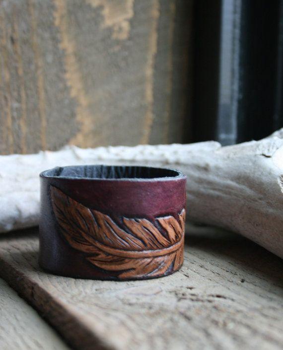 Purple feather cuff bracelet, leather tooled