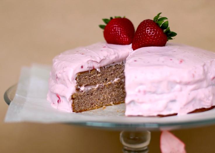 Strawberry Sponge Cake with Strawberry Frosting - Healthier