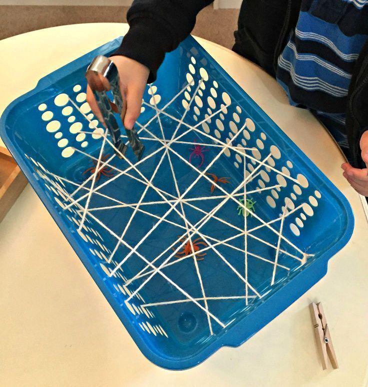 """Grabbing Spiders Through the Web"" Fine Motor Activity (from The Little Montessori School / Ms. Stephanie's Preschool)"