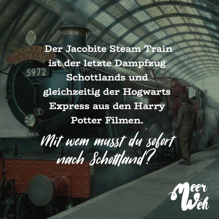 Der Jacobite Steam Train Ist Der Letzte Dampfzug Schottlands Und Gleichzeitig Der Hogwarts Express Aus Den Harry Potter Filmen Mit Wem Musst Du Sofort Nach Sch Hogwarts Visual Statements Coole Spruche