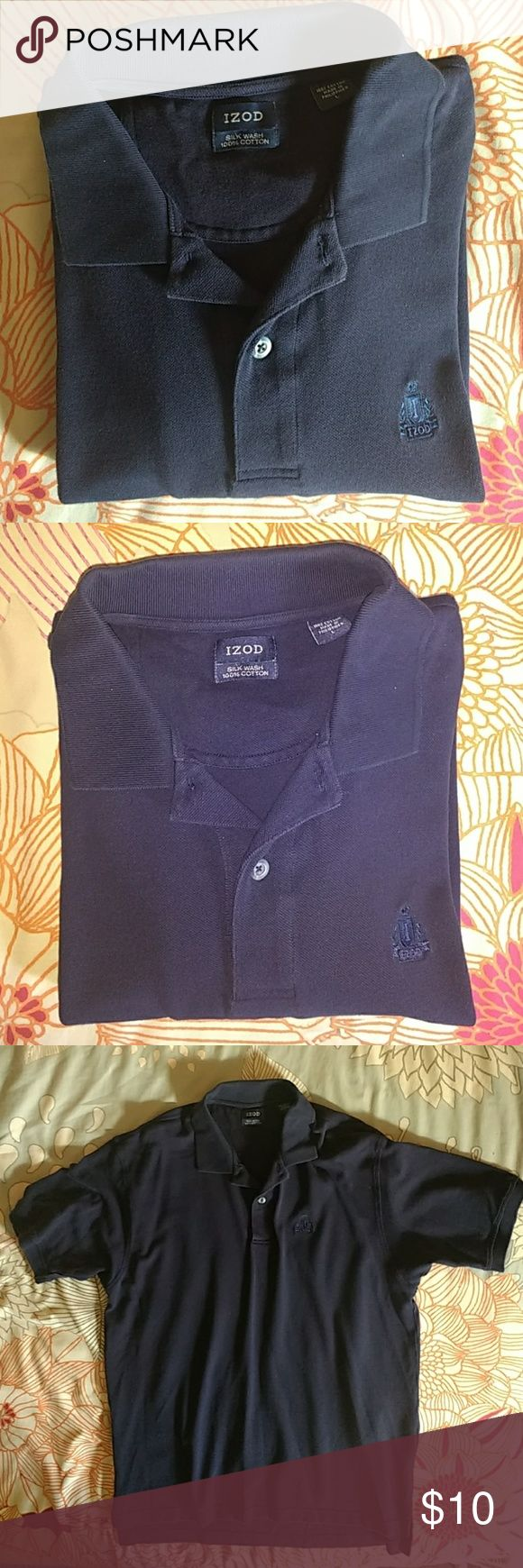Izod Navy Blue polo shirt size LG 100% cotton Izod Navy Blue polo shirt size LG 100% cotton  Thanks for looking!! Item is preowned and sold as-is, no refunds. Please review photos carefully. Please feel free to ask questions! Izod Shirts Polos