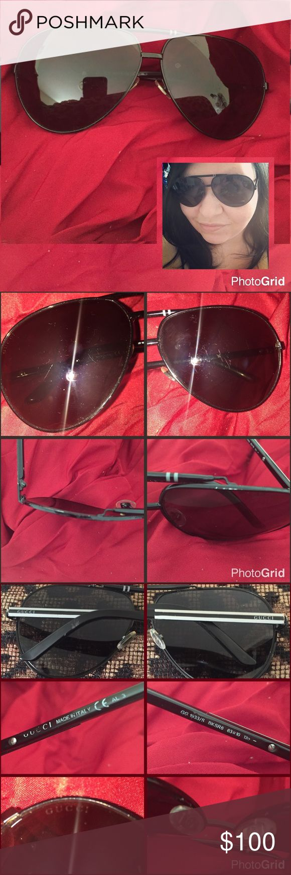 "Gucci Aviator Sunglasses Authentic Gucci aviator sunglasses. They're vintage & as such show some signs of wear (see pics). A few scratches on lens but not noticeable unless up close. I had to use the flash to get them to show up in pics. See pics for proof of authenticity: Nose pads feature Gucci logo, ""Gucci"" written on temples & one lens, made in Italy on arm. Price reflects old age & wear. ✅Make an offer Gucci Accessories Sunglasses"