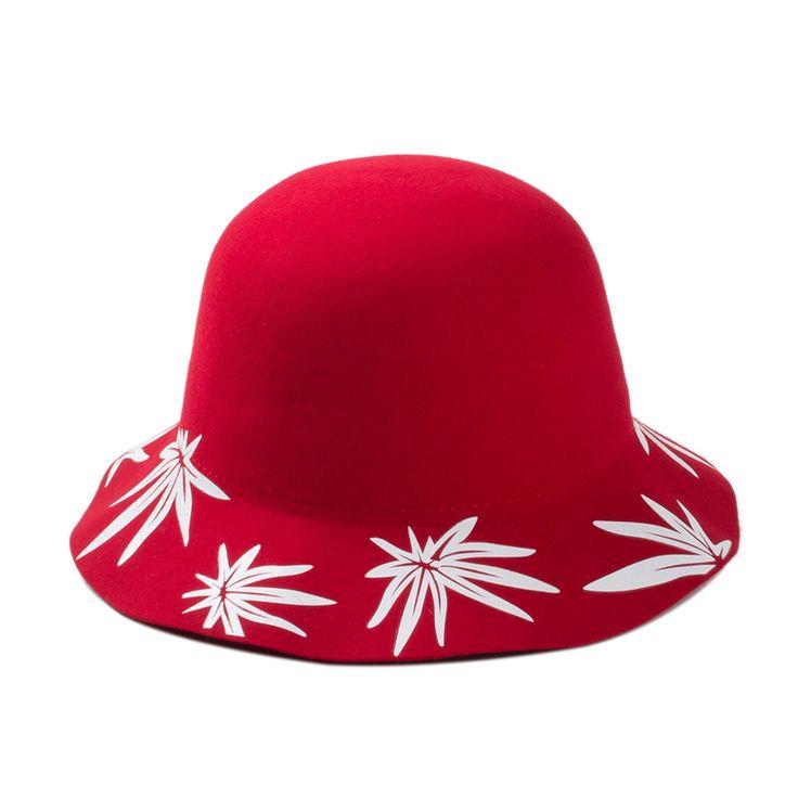 Купол мягкая фетровая шляпа европа британский стиль зима шерсть шляпа принт клен цветок дамы боулер дерби мягкие фетровые шляпы шляпы для женщины