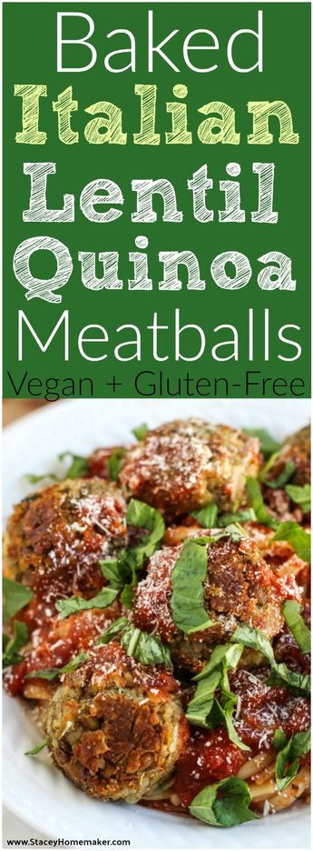 """Baked lentil quinoa """"meatballs"""" will be your new favorite vegan Italian dish! Super flavorful and perfect for meatball subs or served with pasta! Vegan, gluten-free, soy-free."""