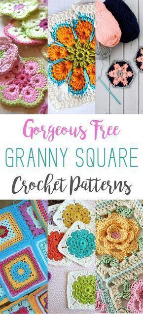 Padrões de Crochet linda Granny Free Square