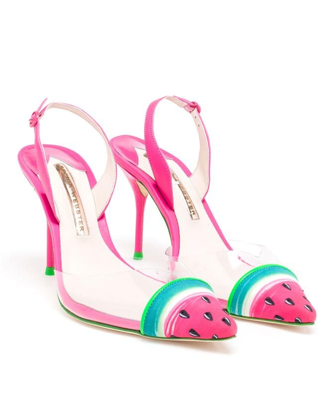 £295.00 Sophia Webster has caught the attention of fashion editors across the world with her playful statement accessories and light-hearted attitude. The Daria watermelon slingback is a fun and tropical summer shoe - pair yours with cropped jeans to keep the details on show.