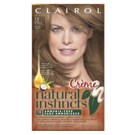 Clairol Natural Instincts Semi-Permanent Hair Color, 7.5 Rich Dark Blonde, 1 Kit, Multicolor