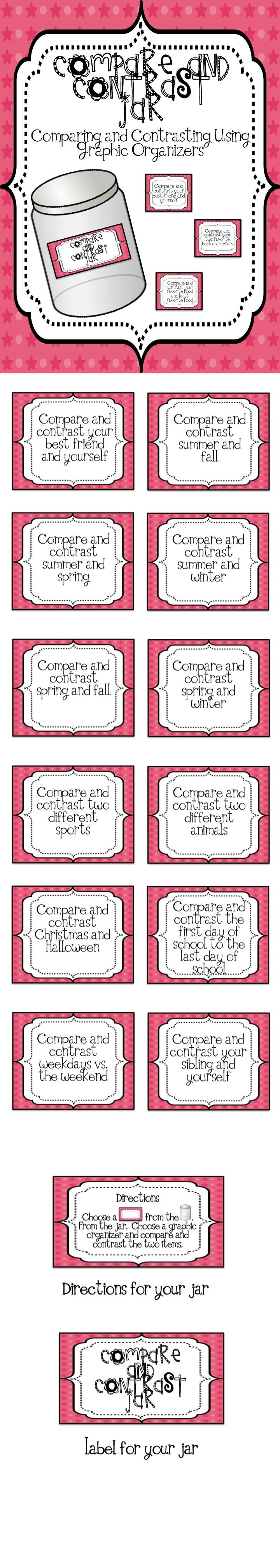 17 best ideas about compare and contrast examples compare and contrast jar for workstations and centers