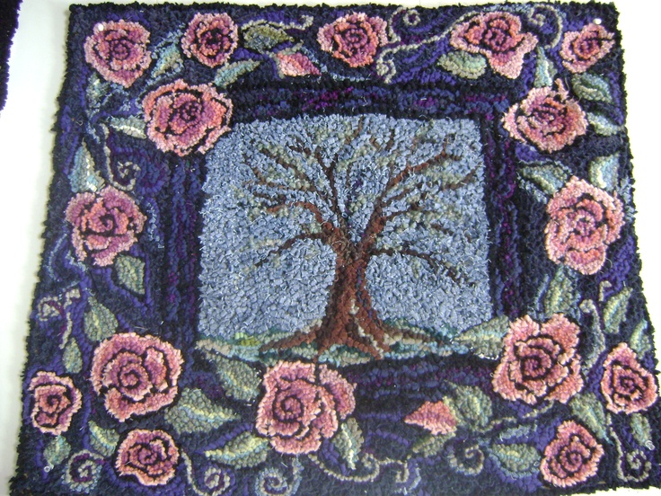 Tree With Rose Border Hooked Wool Rug By AccentsByAbby On Etsy,