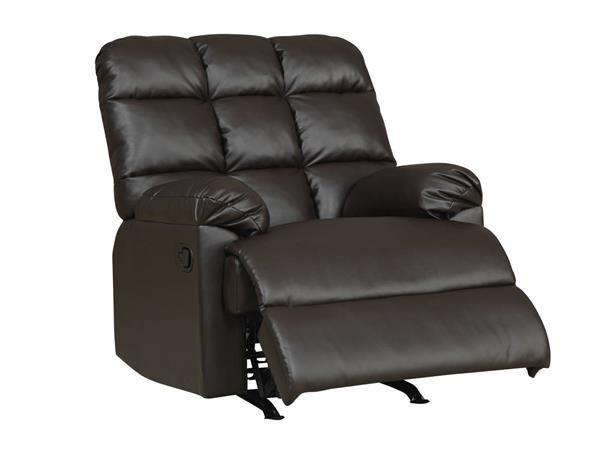 Dark Brown Tufted Back Rocker Recliner Chair