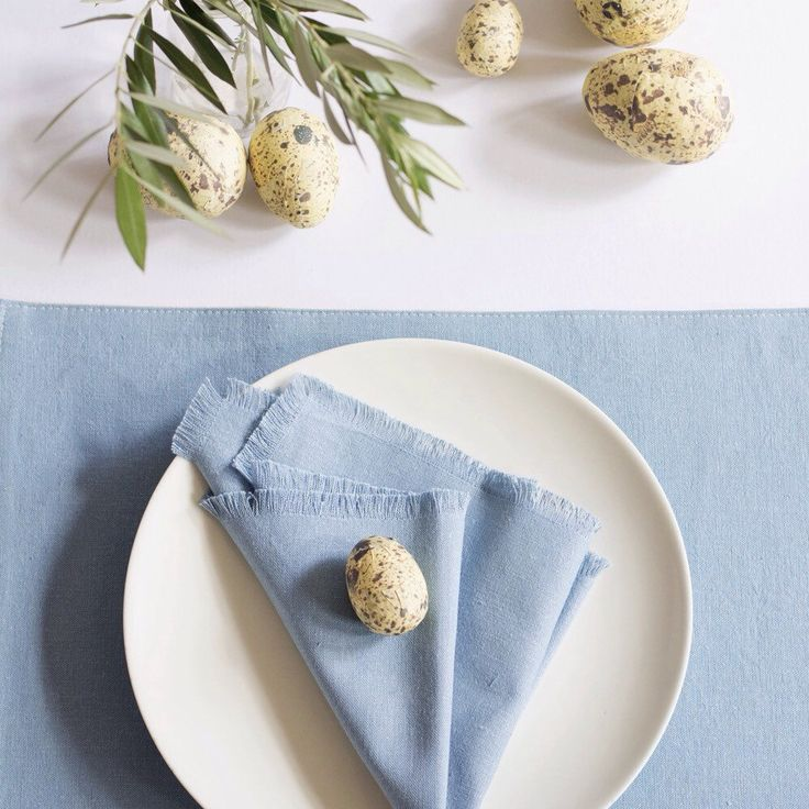 It's time to start thinking about your Easter table decor. This hemp table linen even has an appropriately named colour - duck egg blue.