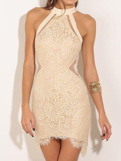 Halter Lace Bodycon Dress - Crystalline