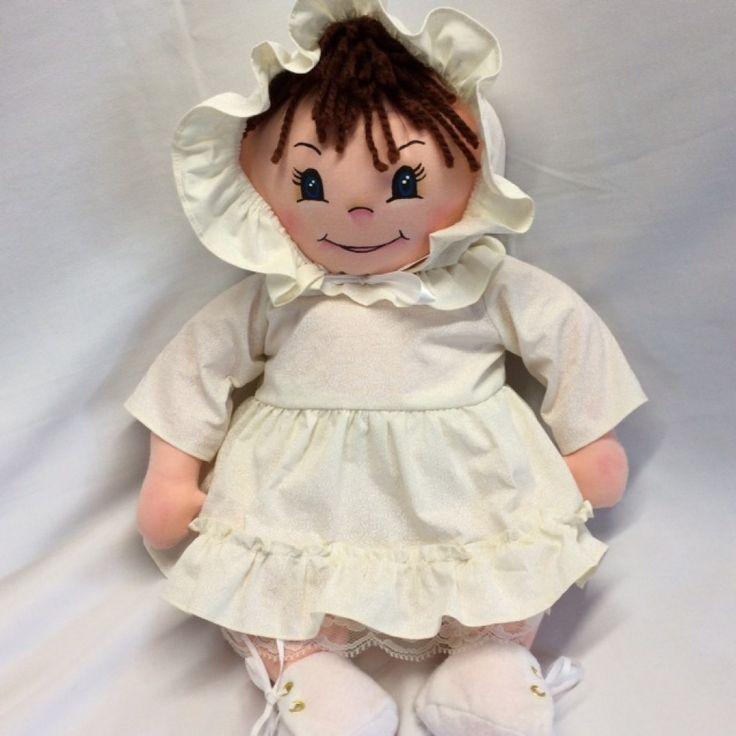 Poupée en tissu à deux visages,un côté la poupée est un visage souriant et derrière, elle dort. Figure peint à la main