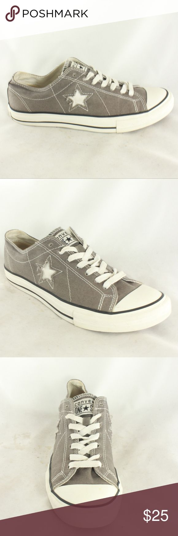 Like New CONVERSE ONE STAR Womens Low Top Sneakers Gray finish canvas, clean insole, white midsole and excellent sole and heel. Great addition to any closet.  Size 9 Converse Shoes Sneakers