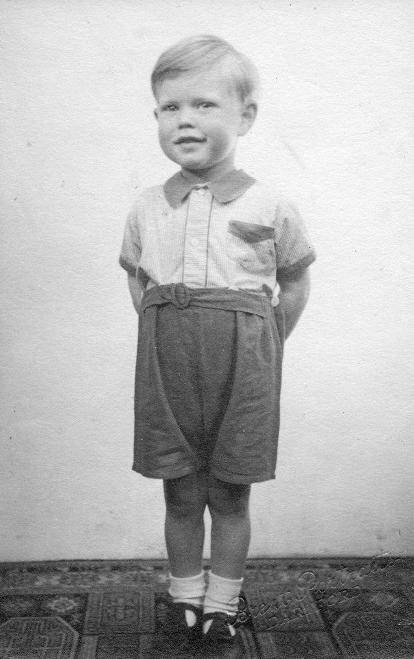 Mick Jagger, age 3, at home in Brent Lane, Dartford, outside of London, in 1946