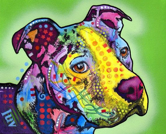 bull terrier artist pitbull luv pit bull dog art original animal painting i 3735
