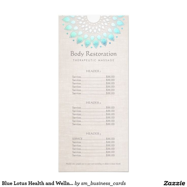 Blue Lotus Health and Wellness Price List Menu -This artistic rack card is ideal…