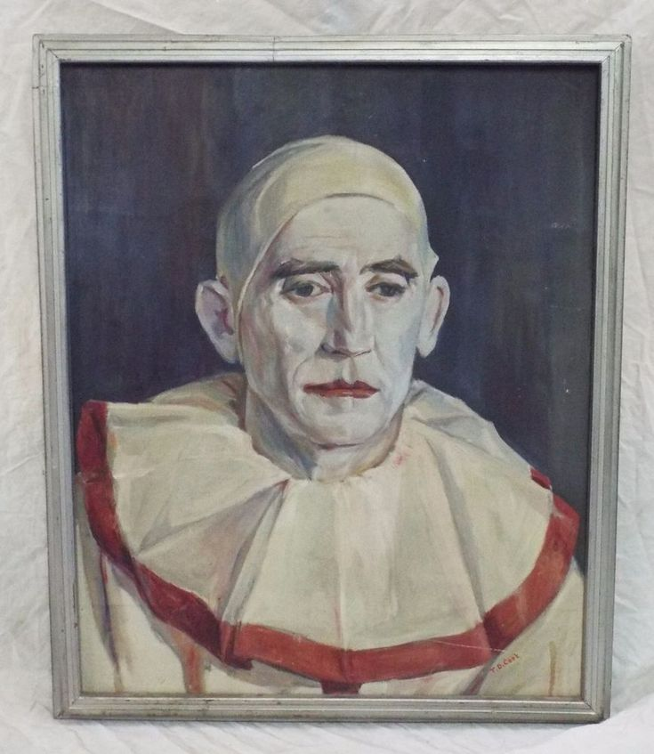 RARE Old Antique T.D. COOK Artist Signed CLOWN PORTRAIT Framed OIL PAINTING
