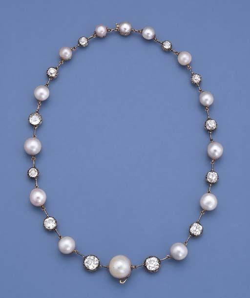 A VERY FINE ANTIQUE PEARL AND DIAMOND NECKLACE, CIRCA 1860. Comprising fourteen graduated pearls measuring 6.7 to 15.11 mm. with old-cut diamond collet spacers, mounted in silver and gold, 44.2 cm. long. #antique #necklace